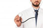 Vágott nézet az orvos gazdaság sztetoszkóp izolált fehér