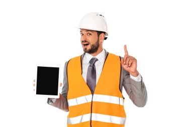 Handsome engineer having idea while holding digital tablet with blank screen isolated on white stock vector