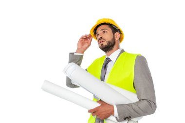 Engineer in suit holding hardhat and blueprints isolated on white stock vector