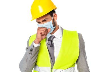 Sick engineer in medical mask coughing isolated on white stock vector