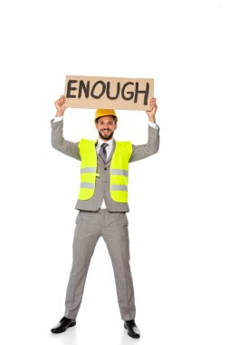 Smiling engineer holding signboard with enough lettering on white background stock vector