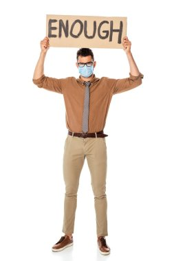 Teacher in medical mask holding signboard with enough lettering on white background stock vector