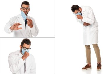 Collage of scared and diseased doctor in medical mask on white background stock vector