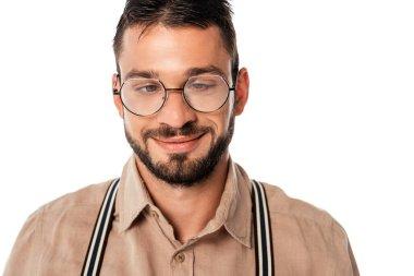 Strabismus nerd in eyeglasses smiling isolated on white stock vector
