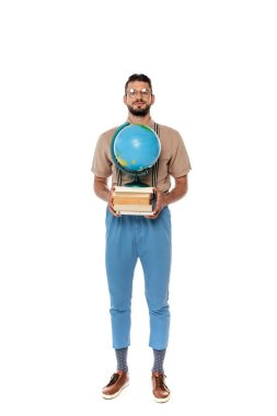 Handsome nerd holding books and globe and looking at camera on white background stock vector