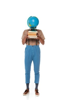 Nerd in suspenders holding globe and books near face on white background stock vector