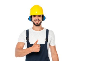 Handsome workman smiling and showing like gesture isolated on white stock vector