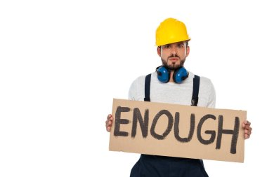 Angry builder holding signboard with enough lettering isolated on white stock vector