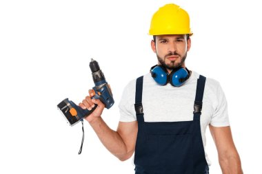 Handsome workman holding electric screwdriver isolated on white stock vector