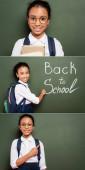 koláž usmívající se africké americké školačky s batohem psaní zpět do školy nápis na zelené tabuli