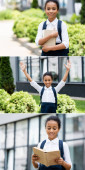 collage of smiling african american schoolgirl with backpack and book outdoors