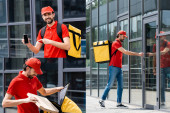 Collage of smiling courier holding pizza box, pointing with finger at smartphone and opening door of building on urban street