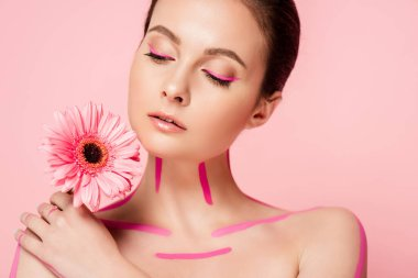 Naked beautiful woman with pink lines on body and chrysanthemum isolated on pink stock vector