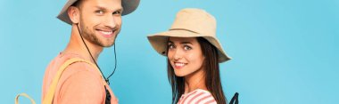 Website header of happy couple in hats smiling isolated on blue stock vector