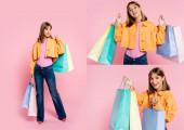 Koláž ženy držící nákupní tašky a při pohledu na kameru na růžovém pozadí