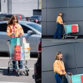 Koláž mladé ženy držící vozík s nákupními taškami na městské ulici