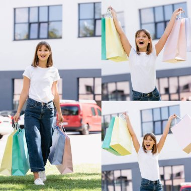 Collage of excited woman in white t-shirt holding shopping bags on urban street stock vector