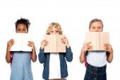 Fotografie multikulturní školačky a školáci zakrývají tváře knihami a dívají se na kameru izolovanou na bílém