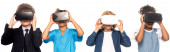 panoramic shot of multicultural kids dressed in costumes of different professions touching virtual reality headsets isolated on white