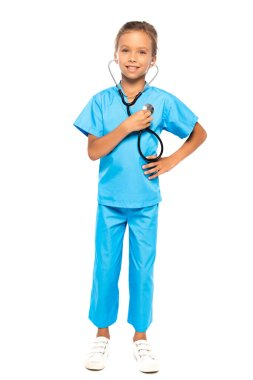 Child in costume of doctor holding stethoscope isolated on white stock vector