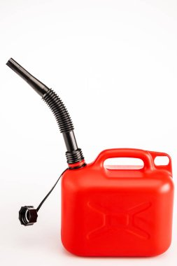 Red gasoline jerrycan on white background stock vector