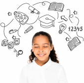 Photo african american schoolgirl smiling with closed eyes isolated on white, education icons illustration
