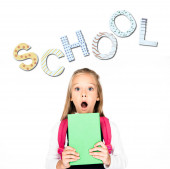 Photo shocked schoolgirl holding book while looking at camera isolated on white, school illustration
