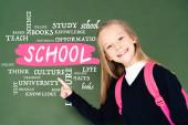 schoolgirl pointing with finger at school illustration on green chalkboard