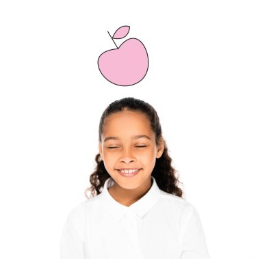African american schoolgirl smiling with closed eyes isolated on white, pink apple illustration stock vector