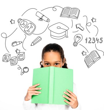 African american schoolgirl looking at camera while holding book near face isolated on white, educational illustration stock vector