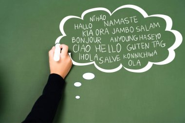 Cropped view of schoolgirl writing with chalk in thought bubble on green chalkboard stock vector