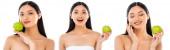 Collage einer asiatischen Frau mit grünem Apfel und berührendem Gesicht isoliert auf weißem Hintergrund