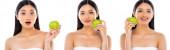 Koláž radostné asijské ženy drží zelené jablko v blízkosti obličeje izolované na bílém