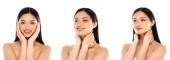 koláž nahé asijské ženy dotýkající se krku a obličeje izolované na bílé, panoramatické plodině