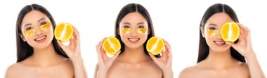 Collage of asian woman with eye patches on face holding sliced orange in hands isolated on white stock vector