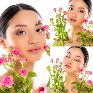 Collage of asian woman holding pink flowers isolated on white stock vector