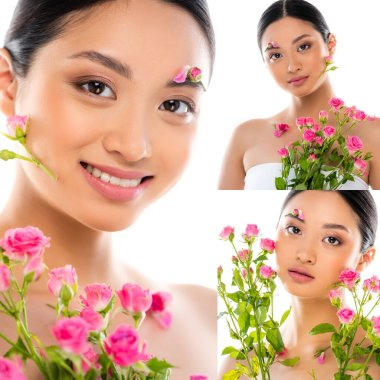 Collage of asian woman looking at camera with pink flowers on face isolated on white stock vector