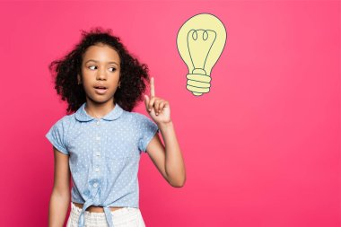 Curly african american kid showing idea gesture near light bulb illustration on pink stock vector