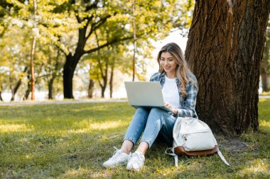 Woman using laptop while sitting under tree trunk on grass stock vector