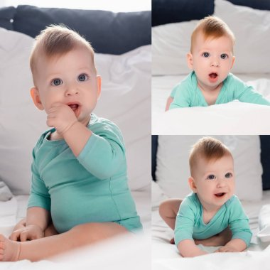 Collage of infant boy sitting with hand in mouth and crawling in bed stock vector
