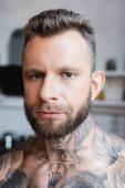 szakállas, félmeztelen tetovált férfi portréja, ahogy a kamerába néz