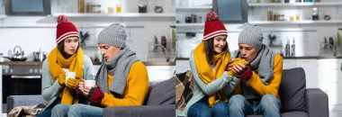 Collage of man warming hands of freezing girlfriend, and couple in warm hats and scarfs holding warm tea in kitchen, horizontal crop stock vector