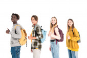 Multicultural teen friends with backpacks showing like and smiling at camera isolated on white