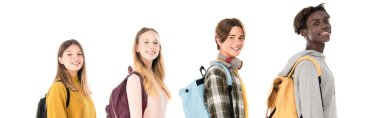 Website header of smiling multicultural teenagers with backpacks looking at camera isolated on white stock vector
