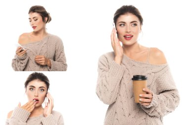 Collage of stylish, emotional woman in knitted sweater using mobile phone and holding coffee to go isolated on white stock vector