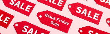 Website header of labels with sale and black friday lettering on pink stock vector