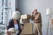 idősebb nő ölelés kutya és kezében pohár bor, miközben a férfi beszél telefonon