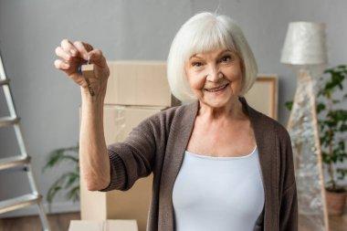 Smiling senior woman holding keys, moving concept stock vector