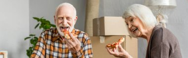 Panoramic shot of laughing senior couple eating pizza in new house and cardboard boxes on background stock vector