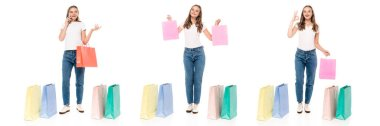 Collage of young woman talking on smartphone and showing ok sign near shopping bags isolated on white stock vector